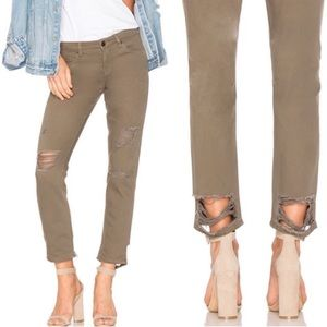 BLANK NYC Army Green Cropped Girlfriend Jeans